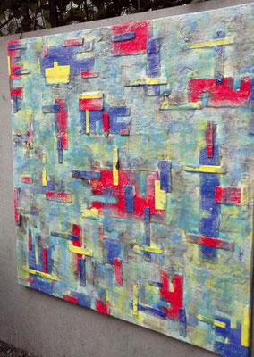 """ Venice #04 "" ( Under water city ) 2014 - scented wax stratification on canvas - ( right side) cm 100 x 100 x 3"