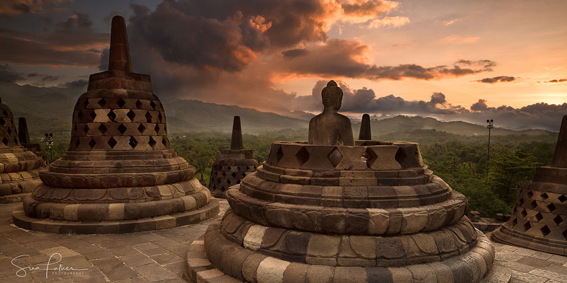 Sunset on the temple Borobudur