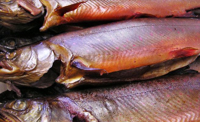 Lachs  -  geräucherte Saiblinge