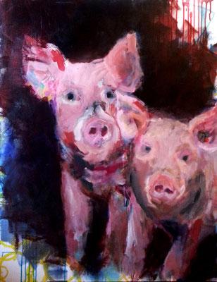 Schwein gehabt 2015, 100x80cm, Acryl auf Leinwand