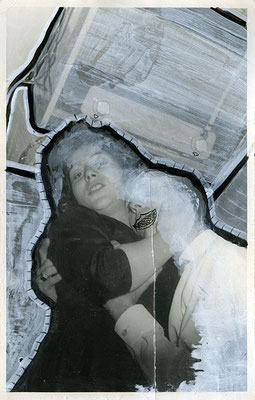 radio   14x9  vinyl on vintage photograph   09