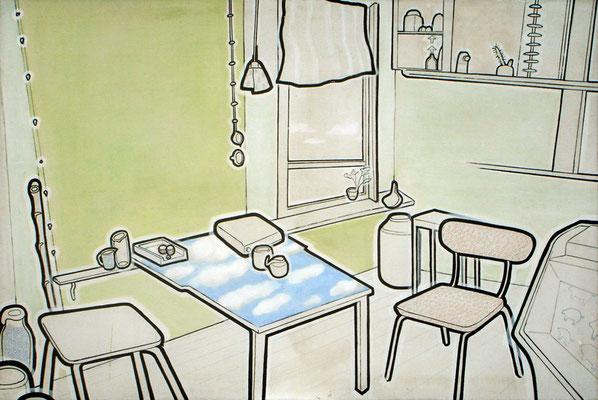 202  nachtisch  96x146  oil, acrylic, pigment pen on linen  06