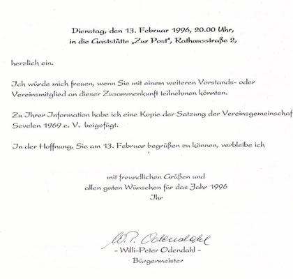 Einladungsschreiben des Bürgermeister