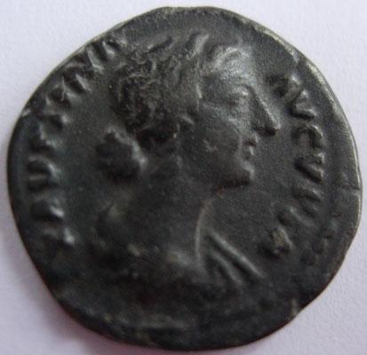 imitation denier de Faustine Jeune frappé en 161-164 à Rome, 2,76 g, A/ FAVSTINA AVGVSTA