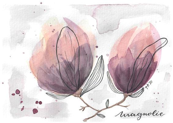 """""""Magnolie"""" , Aquarell + Fineliner"""