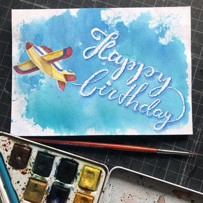 Handlettering, Watercolor + Buntstift