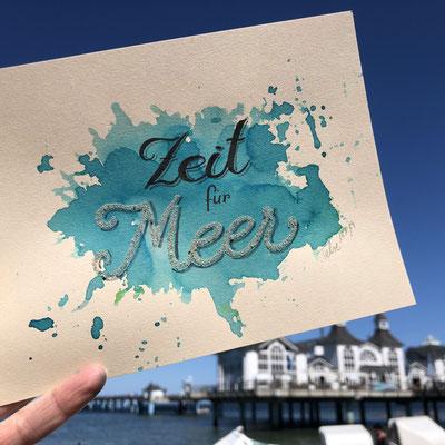 Handlettering, Watercolor + Brushpen + Fineliner + Sand
