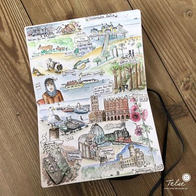 """Blick ins Skizzenbuch """"Urlaub auf Rügen"""" final, Fineliner + Watercolor"""