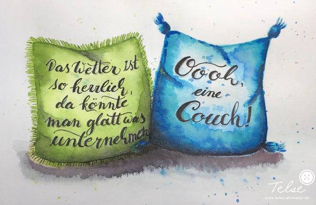 Handlettering, Watercolor + Brushpen