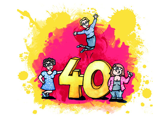 Einladung zum 40sten,  Aquarell und Tusche + digital