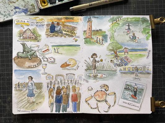 "Blick ins Skizzenbuch ""Urlaub an der Nordsee"", Fineliner + Watercolor"