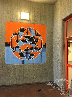 """""""Düsseldorfer Skyline"""", Wandbild in der Dieter-Forte-Gesamtschule"""