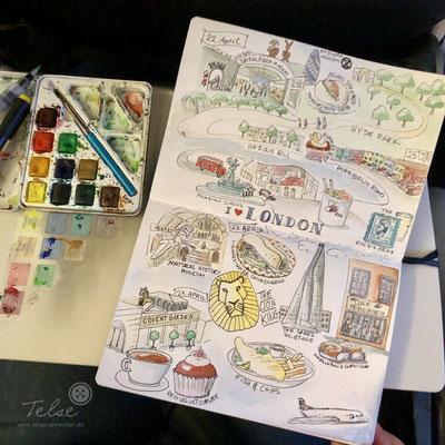 """Blick ins Skizzenbuch """"London Trip"""", Fineliner + Watercolor"""