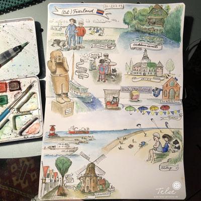 "Blick ins Skizzenbuch ""Urlaub an der Nordsee 2019"" final, Fineliner + Watercolor"