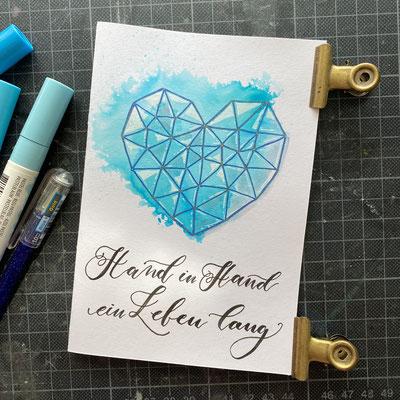 Handlettering, Watercolor + Gelstift + Fineliner