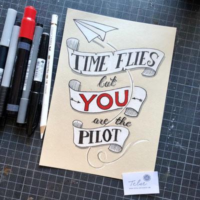 Handlettering, Brushpen, Fineliner + Kreidestift