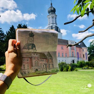 "Blick ins Skizzenbuch ""Schloss Jever"", Fineliner + Watercolor"