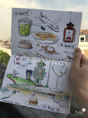 "Blick ins Skizzenbuch ""Südengland Trip"", Fineliner + Watercolor"