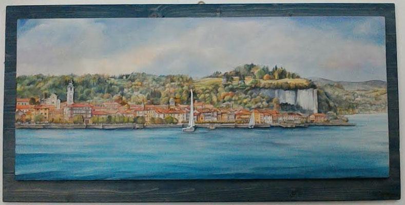 ARONA, Lago Maggiore  acrilico su doppio pannello di legno tridimensionale, malte, taglio a traforo 50x100