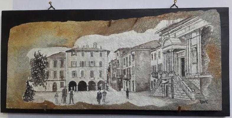 PIAZZA DEL POPOLO, Arona Lago Maggiore seconda metà dell'800 pigmenti su pietra 40x25