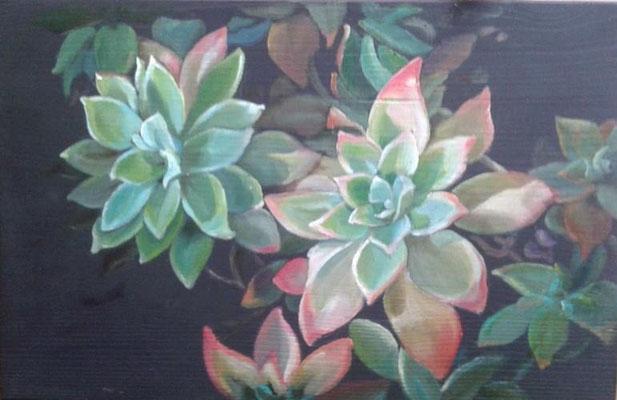 trittico acrilico malte e cera su legno cornice in foglia argento  100x30