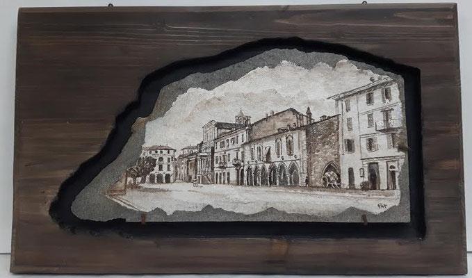 BROLETTO, Piazza del Popolo nell'800, Arona Lago Maggiore  pigmenti su lastra di ardesia incassonata su legno