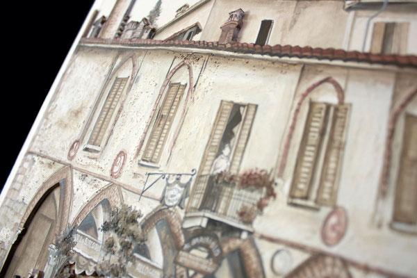 qui si mette in evidenza il materiale utilizzato per rappresentare  le varie superfici che compongono il Palazzo: malte e sabbia per mattoni e vecchio intonaco