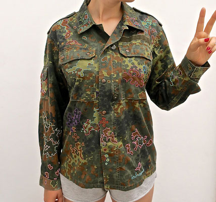 camouflage parka ethical fashion transform statement piece message ökomode parka jacke hose military peace love mindfulness designer