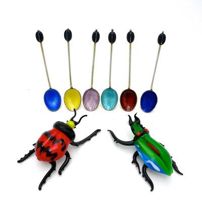silber Emaille guiloché silver silversmith spoons Löffel Käfer bugs