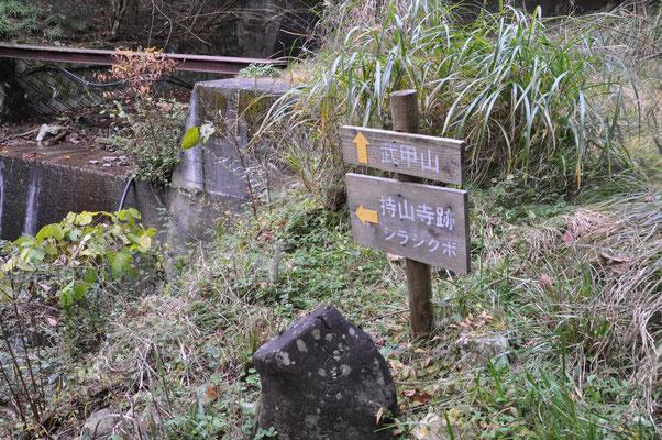 シラジクボ(鞍部)への道と武甲山への分岐