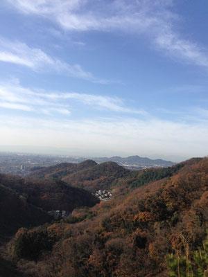 足利市内方面。低山ならではの景色