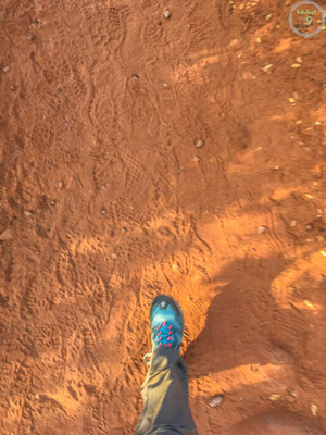 Auf rotem Sand beginnt die Wanderung