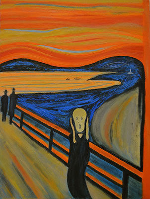 Munich my olf friend - the scream (prestudy in acrylics 40 cm x 30 cm )