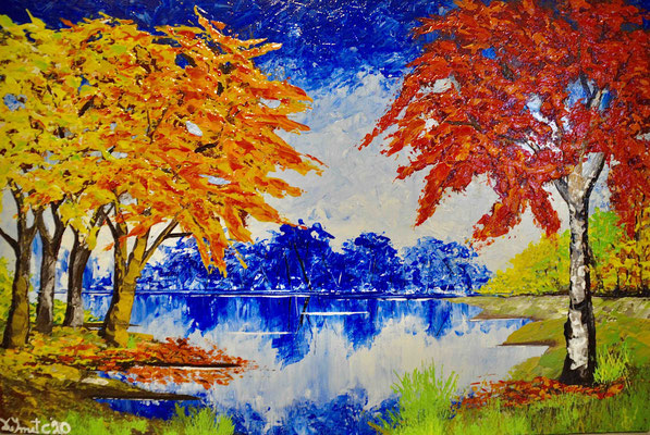 Colorfull trees in autumn (Knife in acrylics - 60 cm x 40 cm)