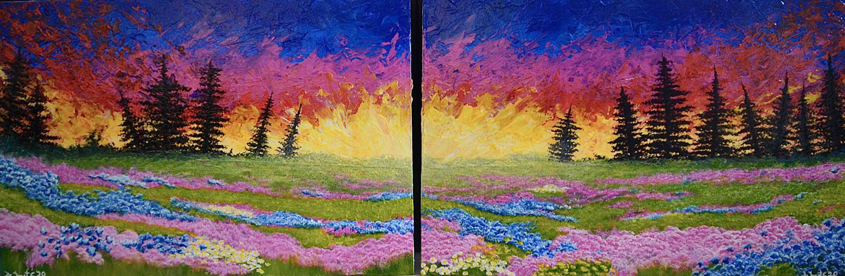 Colorfull meadow with sunset and lot's of flowers - 2 x 60 cm x 40 cm (diptych)