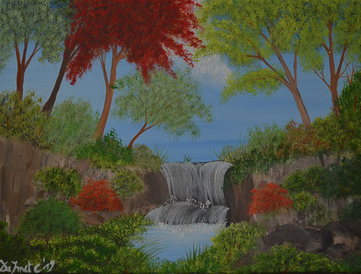 Colorfull trees with waterfall (charity)