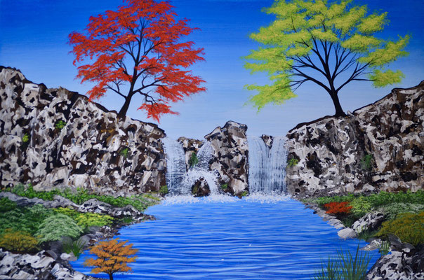 Cascade with rocks (knife) and colorfull trees forrest with rocks and waterfall ( Acrylics 60 cm x 40 cm )