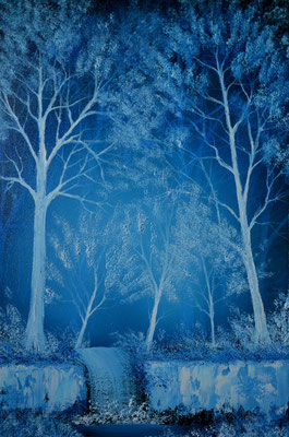 Blue Forrest - Bob Rosses place - Mixed media: Acrylics and oils (60 cm x 40 cm )