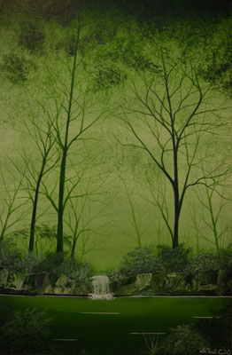 Soothing green forrest number one (Acrylics 60 cm x 40 cm - SOLD)