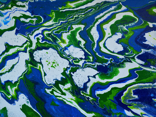 "AP blue, with, green (AP stands for ""acrylic pouring"" - 80 cm x 60 cm)"