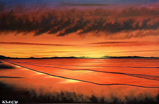 Colorfull sunset at sea (Brush in acrylics - 60 cm x 40 cm)