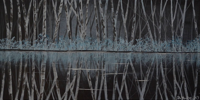 Bob Rosses place - berch trees with reflections  ( Acrylics 60 cm x 40 cm )