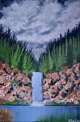 Forrest with rocks (knife) and waterfall (Acrylics 60 cm x 40 cm)