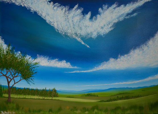 Classical landscape with trees in background (Tonal painting in oils - 80 cm x 60 cm on canvas)