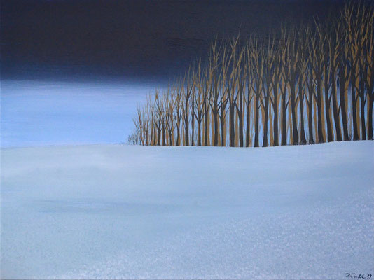 Tight winterscape (80 cm x 60 in acrylics and glow in the dark paint (subtile)
