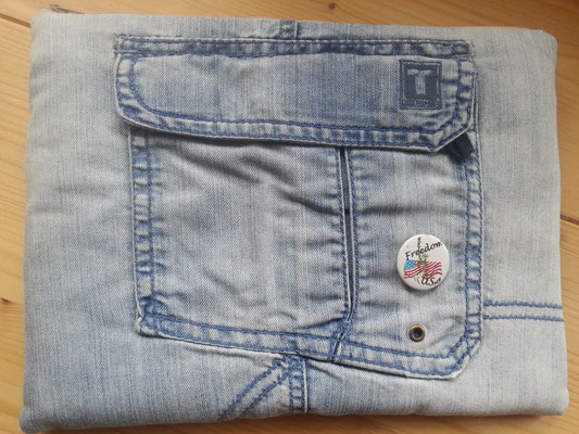 Tablettasche-Case-Bag-Hülle, Jeans-helles jeansblau-10 Zoll mit PIN, Unikat, Geschenkidee,