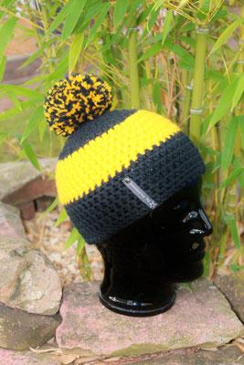 Bommelmütze-Beanie-Fanmütze-schwarz/gelb-Fussballmütze in Vereinsfarben