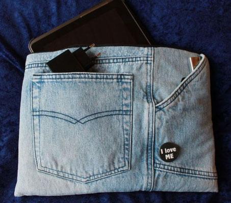 Tablettasche-Case-Bag-Hülle, Jeans-helles jeansblau-10 Zoll mit PIN, Unikat, Gechenkidee