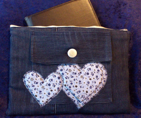 Tablettasche-Case-Bag-Hülle, Jeans-jeansblau-10 Zoll, Unikat, Geschenkidee