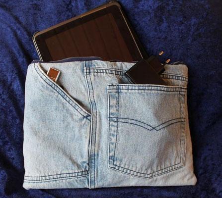 Tablettasche-Case-Bag-Hülle, Jeans-helles jeansblau-10 Zoll, Unikat, Geschenkidee